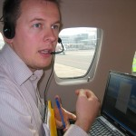 Lennard Huisman operating the GPS receivers on-board the aircraft (Trimble R7, Septentrio PolaRx2@ and AsteRx1).