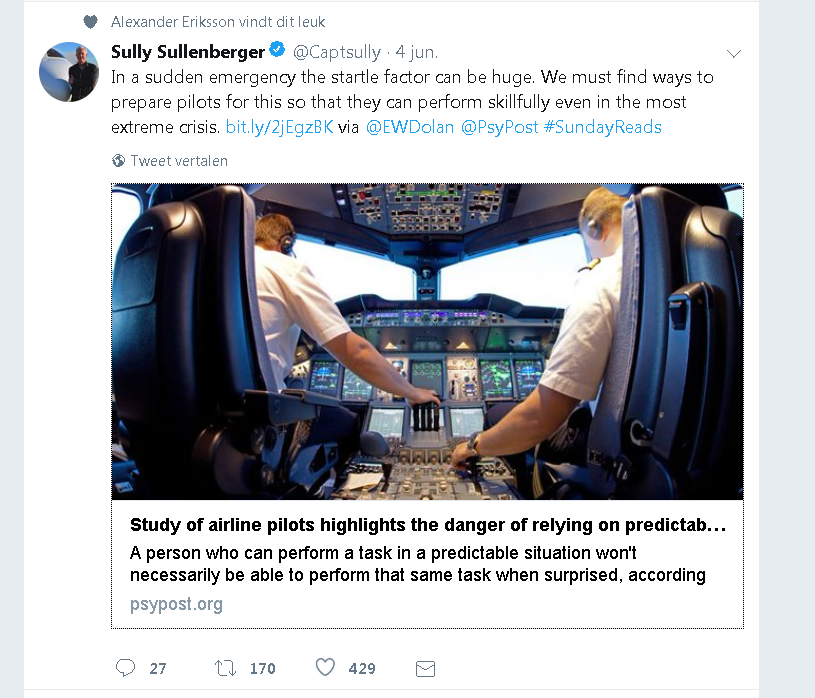 Captain Sullenberger tweet on TU Delft startle research