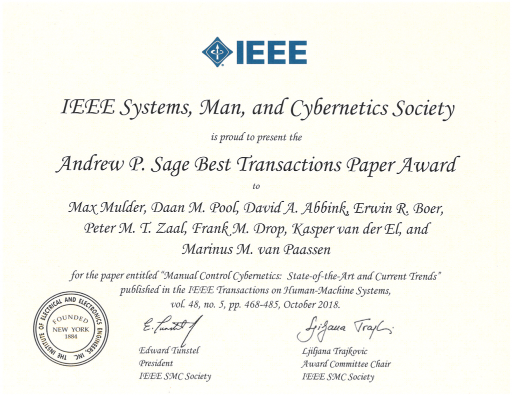 Andrew P. Sage Best Transaction Paper for cybernetics review paper!